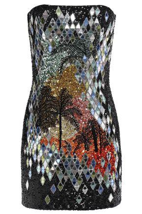 BALMAIN ストラップレス 装飾付き クレープ ミニワンピース