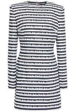 BALMAIN Printed denim mini dress