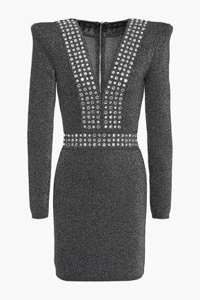 BALMAIN Crystal-embellished metallic stretch-knit mini dress