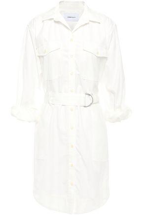 CURRENT/ELLIOTT Belted striped cotton-poplin shirt