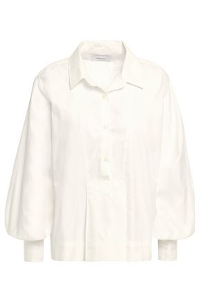 CURRENT/ELLIOTT Gathered cotton-poplin blouse