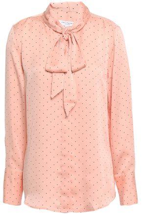 EQUIPMENT Luis tie-neck polka-dot crepe de chine blouse