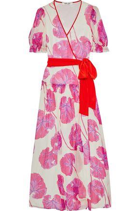"DIANE VON FURSTENBERG فستان طويل ""بريز"" بتصميم ملفوف من الشيفون الحريري المطبع برسومات"