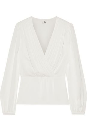 IRIS & INK Aspen wrap-effect satin-crepe blouse