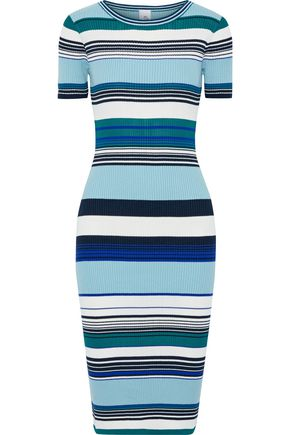 IRIS & INK Hibiscus striped ribbed cotton-blend dress
