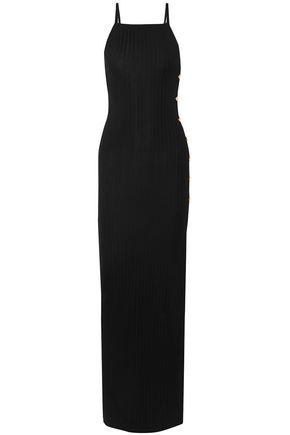 BALMAIN Button-embellished ribbed stretch-knit maxi dress