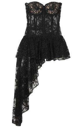 ALEXANDER MCQUEEN Draped cotton-bend sarabande lace bustier top