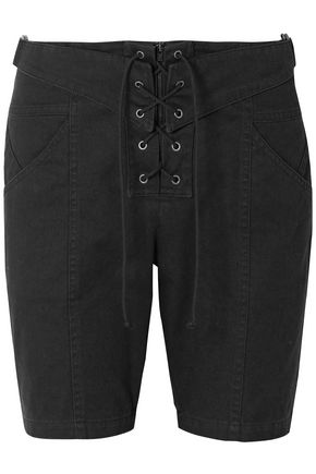 SAINT LAURENT Lace-up cotton and ramie-blend twill shorts