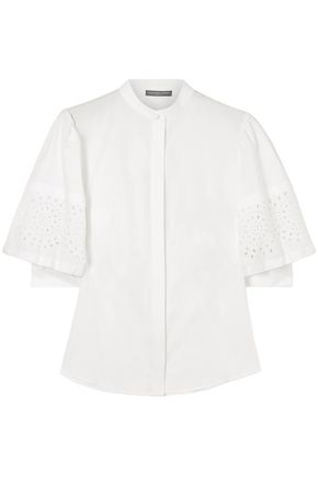 ALEXANDER MCQUEEN Broderie anglaise cotton-poplin blouse