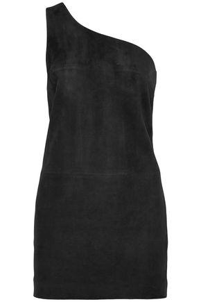 SAINT LAURENT One-shoulder suede mini dress