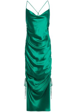 GALVAN  London Yasmine open-back gathered silk-satin midi dress