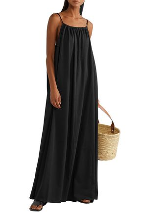 The Row Dresia Open-back Cotton-jersey Maxi Dress In Black
