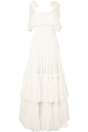 DOLCE & GABBANA Tiered ruffled silk-chiffon gown