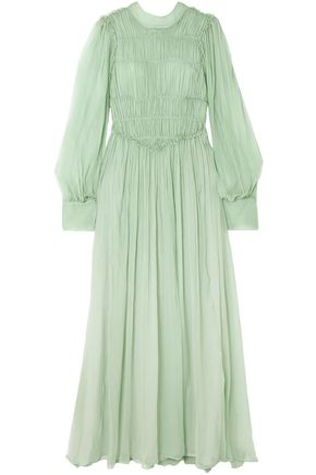 STELLA McCARTNEY فستان سهرة من الشيفون الحريري مضموم بالدرزات الظاهرة مع كشكش