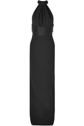 SAINT LAURENT Open-back satin-trimmed wool halterneck gown