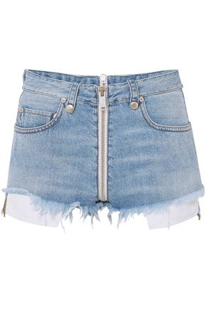 BEN TAVERNITI™ UNRAVEL PROJECT Zip-detailed frayed denim shorts