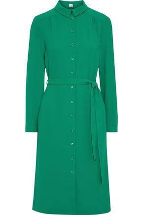 IRIS & INK Oleander belted crepe shirt dress