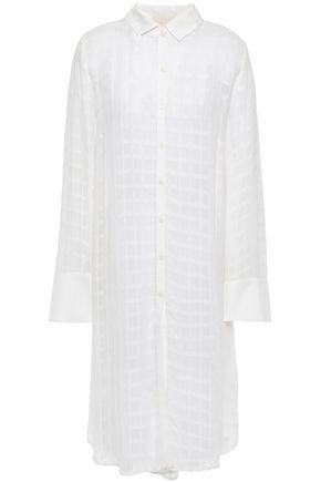 byTIMO Embroidered crepe midi shirt dress