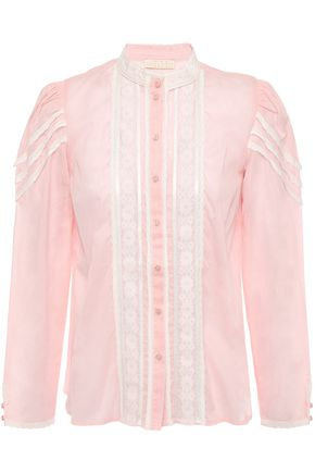 byTIMO Lace and crochet-trimmed pintucked cotton-gauze blouse
