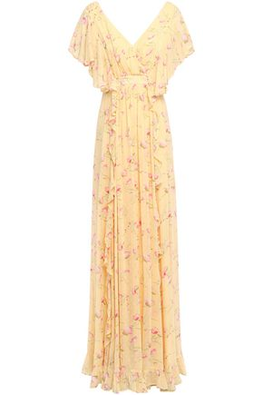 byTIMO Wrap-effect ruffled floral-print fil coupé woven maxi dress