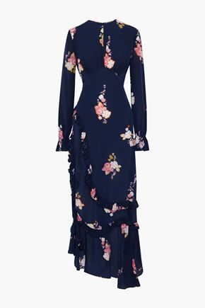 PREEN LINE Gabriella asymmetric gathered floral-print crepe de chine maxi dress