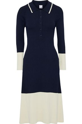 IRIS & INK Lantana two-tone ribbed-knit dress