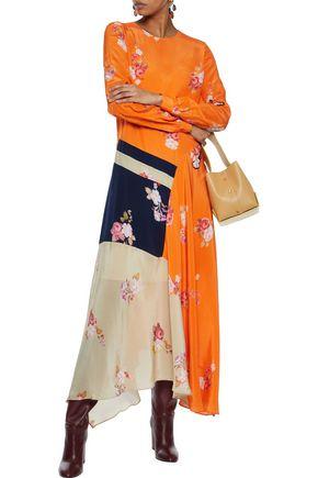 PREEN LINE Selena asymmetric floral-print crepe de chine maxi dress
