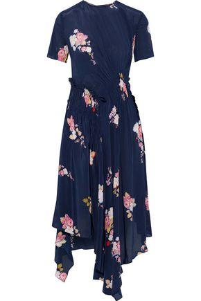 PREEN LINE Verna asymmetric ruched floral-print crepe de chine dress