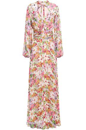 byTIMO Pussy-bow floral-print fil coupé maxi dress