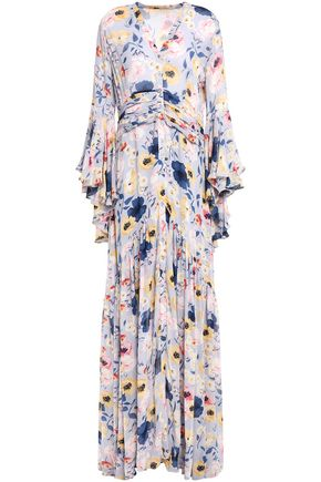 byTIMO Ruched floral-print crepe maxi dress