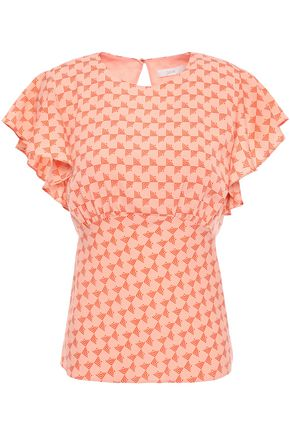 JOIE Ruffled printed crepe de chine blouse