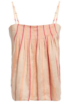 JOIE Ariza pintucked striped linen-blend camisole