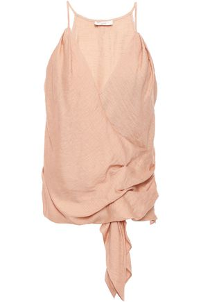 JOIE Wrap-effect draped gathered hammered-woven camisole
