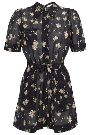 byTIMO Tie-front floral-print cotton-voile playsuit
