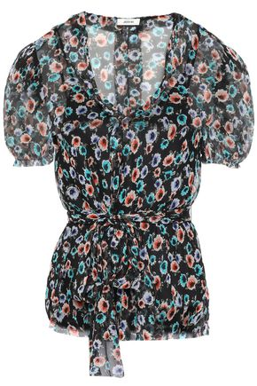 JASON WU Frayed gathered floral-print crepon blouse