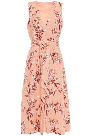 JOIE Ethelda belted floral-print linen midi dress