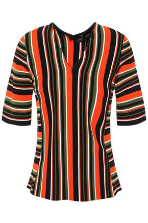 PROENZA SCHOULER Zip-detailed striped intarsia-knit top