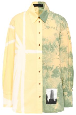 PROENZA SCHOULER Appliquéd tie-dyed cotton-poplin shirt