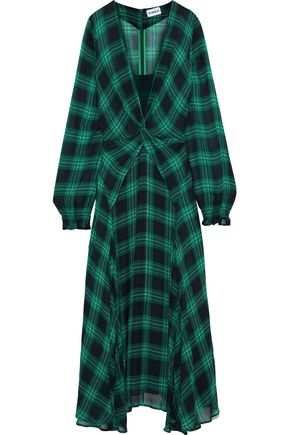 AINEA Twist-front checked georgette maxi dress