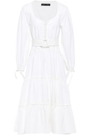 PROENZA SCHOULER Belted stretch cotton-poplin midi dress
