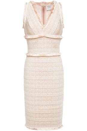 HERVÉ LÉGER Frayed jacquard-knit dress