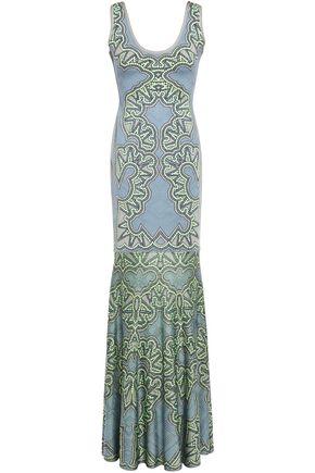 HERVÉ LÉGER Jacquard-knit bandage gown