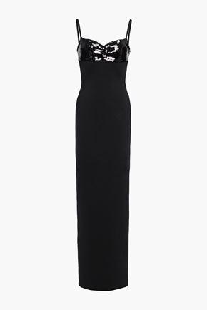 HERVÉ LÉGER スパンコール付き ポンテ ロングドレス