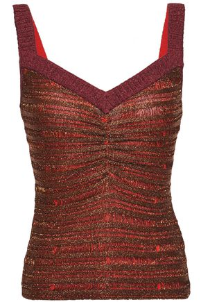 HERVÉ LÉGER Ruched metallic striped stretch-knit top