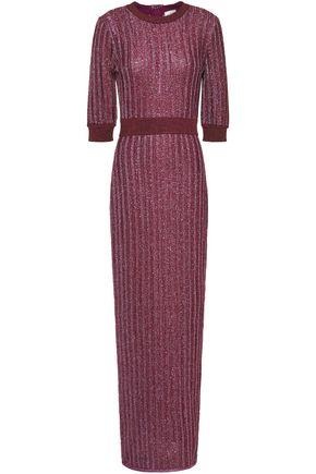 HERVÉ LÉGER فستان طويل محاك مضلّع لون ميتاليك