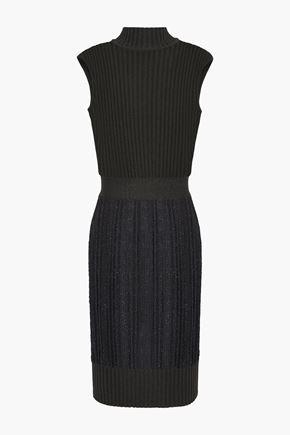 HERVÉ LÉGER Metallic ribbed-knit mini dress