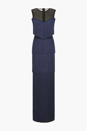 HERVÉ LÉGER Tiered fringed stretch-mesh gown