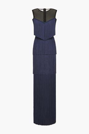 HERVÉ LÉGER فستان سهرة بطبقات من الشبك المرن مزين بأشرطة
