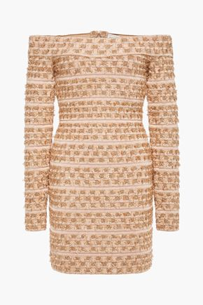 HERVÉ LÉGER Off-the-shoulder metallic fil coupé bandage mini dress