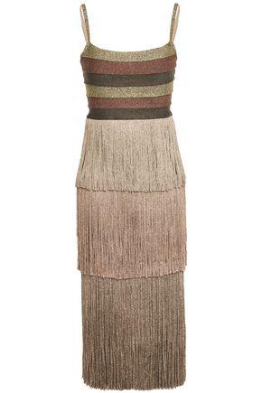 HERVÉ LÉGER فستان متوسط الطول من قماش بونتي المخطط لون ميتاليك مزين بأشرطة